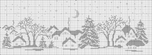 """Картина """"Деревня зимней ночью""""  2 вариант. Схема"""