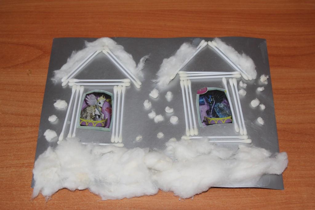 аппликация Снежные домики