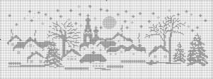 """Картина """"Деревня зимней ночью""""  1 вариант. Схема"""